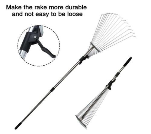 "Lonabr Telescopic Garden Leaf Roof Rake Adjustable 7.5-20/"" Width Head Extendable"