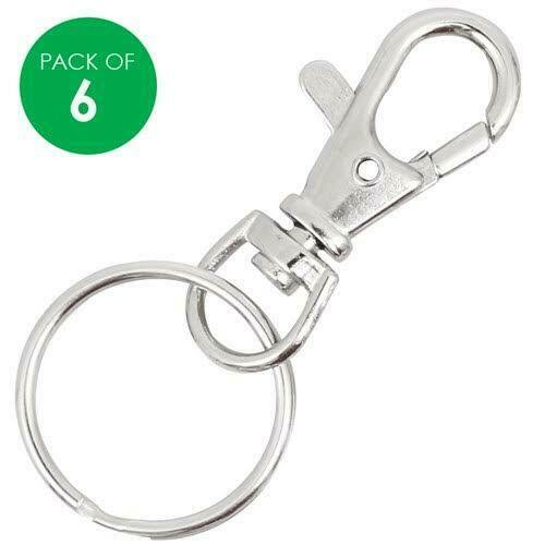 6 SILVER SNAP HOOK SWIVEL KEY RINGS LANYARD CLIPS Free Aus Post Craft