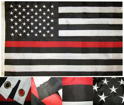 3x5 USA Thin Red Line Fire Dept Nylon 210D Embroidered 5x3 Flag RAM