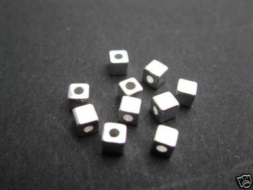 10 abalorios metálicos dados 3x3mm perlas bricolaje nuevo 4109