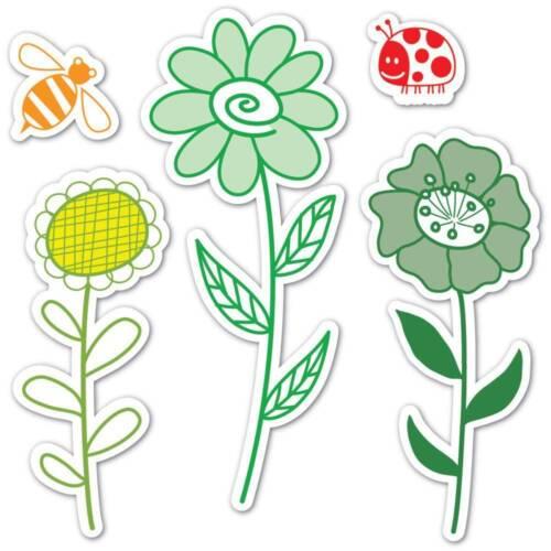 Sizzix Framelits Die Set 10PK  w//Stamps GARDEN FLOWERS  Hero Arts Lady Bug Bee