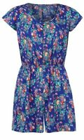 Primark Summer Pintuck Play Suit Floral Open Playsuit Short Mini Size 12
