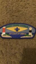 "JERSEY SHORE COUNCIL BSA BLUE 2""X5"" IRON ON PATCH NICE!"