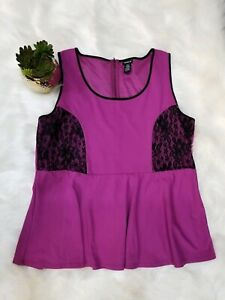 Torrid-3-Womens-Purple-Peplum-Tank-Top-Black-Lace-Accents-Sleeveless-Size-3X