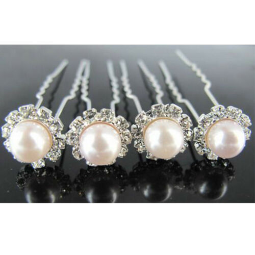 Hair Pin Clips Crystal Rhinestone Diamante Pearl Flower Women Prom Party Wedding