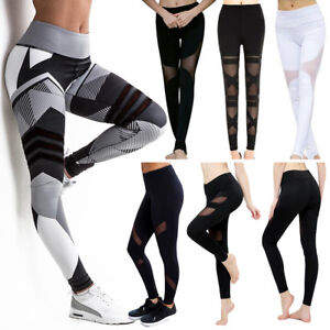 8bd12ef9cd4bc Classic Womens High Waist Yoga Mesh Splice Leggings Sports Trousers ...