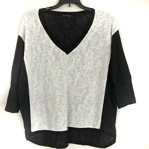 Nally-amp-Millie-Womens-Top-Dolman-Sleeve-Black-White-Color-Block-Size-L