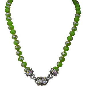 Kirks-Folly-Opal-Jade-Color-Beaded-Magnetic-Necklace-Silvertone-w-KF-Gift-Box