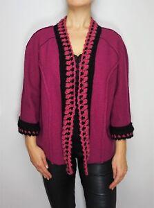 New-ELISA-V-Boiled-Wool-Gudrun-Sjoden-style-Purple-Jacket-w-Crochet-Knit-Trim