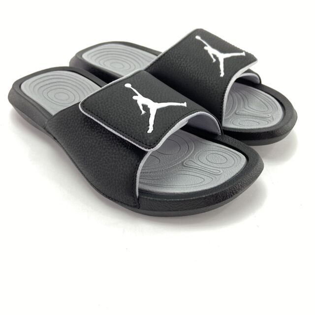 Nike Men's Jordan Hydro 6 Black White Wolf Grey Sandal Slides 881473-011 Size 8