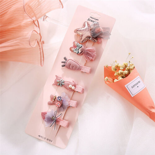 6Pcs//set Kids Infant Cute Hairpin Baby Girl Hair Clips Bow Flower Mini Barrettes
