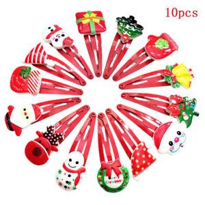 10Pcs-lot-Xmas-Cartoon-Hair-Clips-Christmas-Hairpins-Baby-Girls-Hair-Accessory