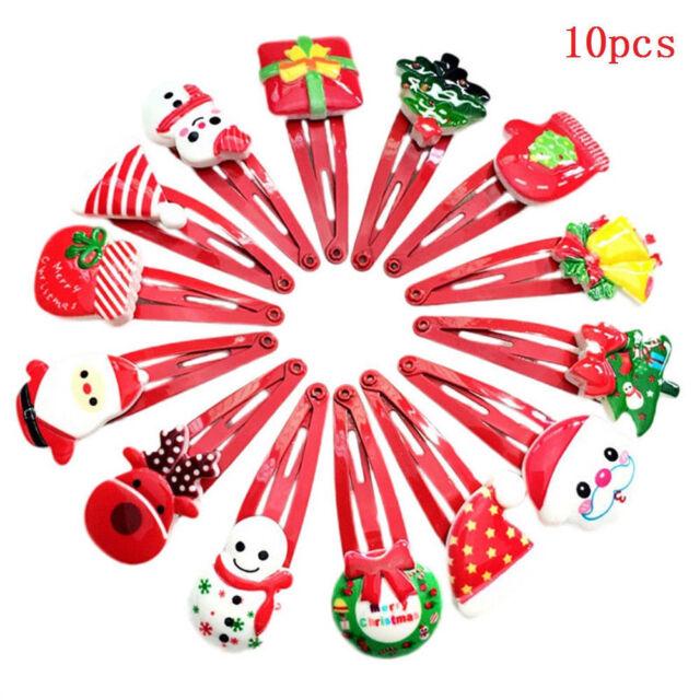Christmas Hair Clips.10pcs Xmas Hair Clips Baby Kids Girl Christmas Cartoon Hairpins Hair Accessories