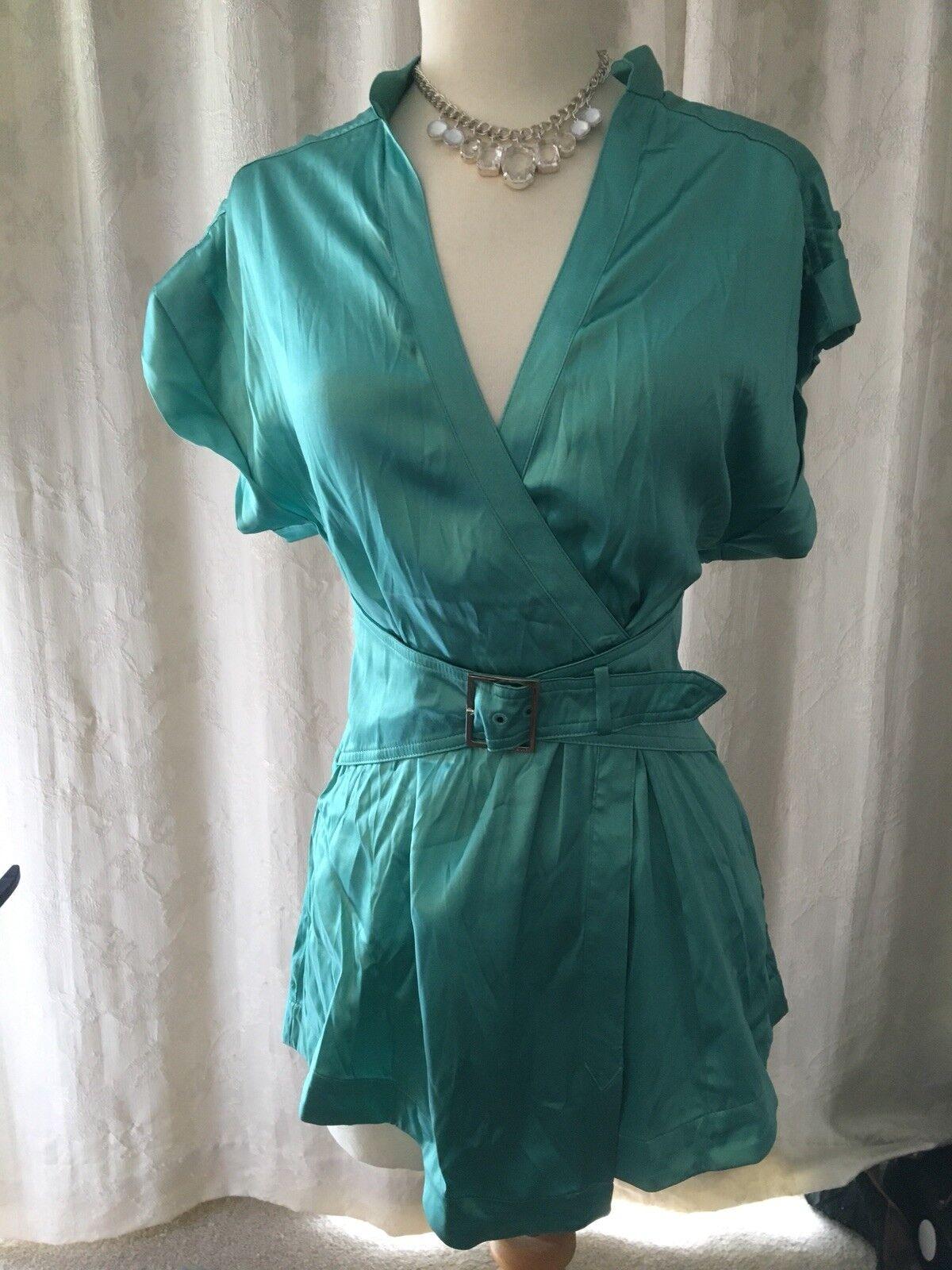 Karen Millen Aqua Silk Shirt Size 8 Bnwt
