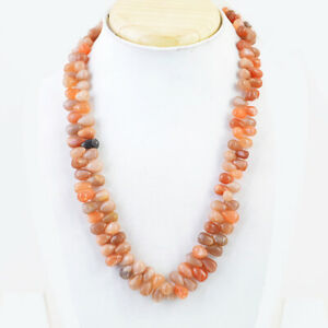 437.00 Cts Earth Mined Multicolor Moonstone Pear Shape Beads Necklace NK 58E59