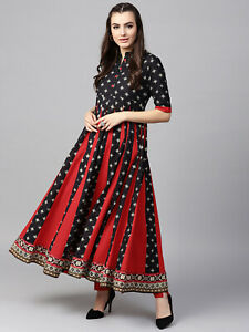 Aimable Noir Rouge Imprimé Anarkali Kurta Indian Pakistani Kurti Designer Robe Tunique-afficher Le Titre D'origine Performance Fiable