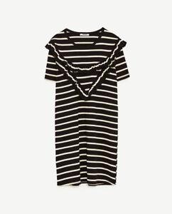 55d028c3 ZARA Fine Striped Knit Dress Short Sleeve Front Frill New Mini Dress ...