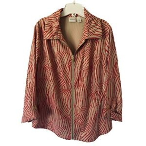 Zenergy By Chicos Womens Jacket Beige Red Abstract Zip Up Stretch M 8/10 NWOT's