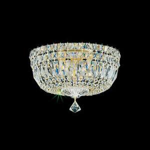 flush mount 5 light deluxe swarovski crystal lighting fixture ceiling silver. Black Bedroom Furniture Sets. Home Design Ideas
