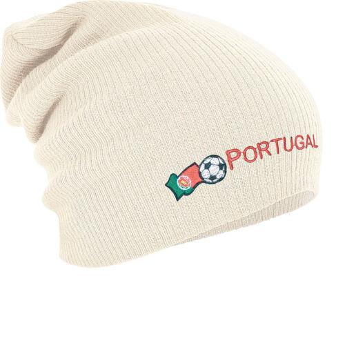 Long Beanie winterbeanie bonne nuit de Avec Stick Motif Football Portugal 54597 Nature
