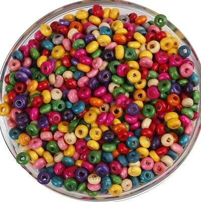 Wholesale 1000Pcs Mixed Color Nice Rondelle Wood Spacer Beads Loose Beads  4mm