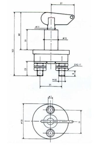 Einpoliger Batterietrennschalter 75//300A mit manueller Betätigung