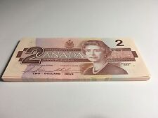 uncirculated Canadian 1986 2 Dollar Bill sequential EGT Canada banknote