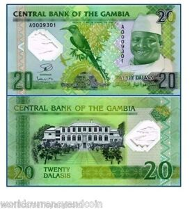 GAMBIA-20-DALASI-2014-2015-POLYMER-COMMEMORATIVE-BEEEATER-BIRD-UNC-CURRENCY-NOTE