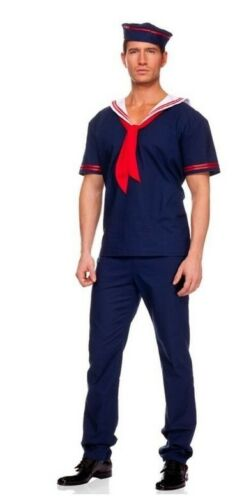 Sailor Man Costume Navy Blue Cosplay Officer Role Play Fancy Dress Party Outfit
