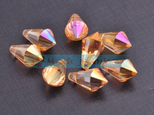 10pcs Charms Long Cône à facettes verre cristal Spacer Loose Beads Jewelry Making