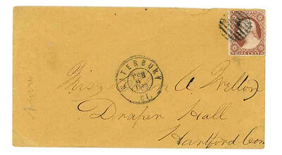 US Cover w/ Fancy Cancel:  2/9/1860 Waterbury with Matching CDS & BAR-GRID...A2