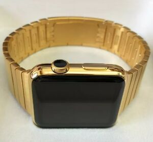 24K-Gold-Plated-42MM-Apple-Watch-Series-2-gold-Link-Band-Custom-Rare