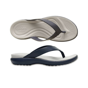 4c60016a5 Womens Crocs Capri V Flip Navy Blue Pearl White Sandal Flip Flop | eBay