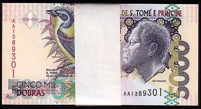 Sao Tome 5000 5,000 Dobras 1996 Unc Bundle Pack 100 Pcs P 65a St Saint Thomas