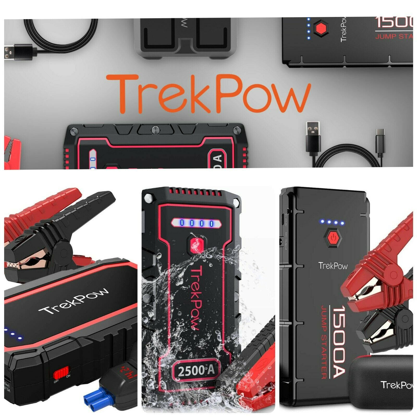 ⚡TrekPow Heavy Duty Truck Battery Booster Pack Jump Starter Box Portable Amps