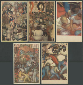 Lot of Five 1930s DIEGO RIVERA Frescos Murals Postcards from Mexico