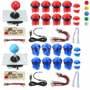 2-Players-DIY-Arcade-Joystick-Kit-PC-Game-USB-Controller-LED-Push-Button-Cables