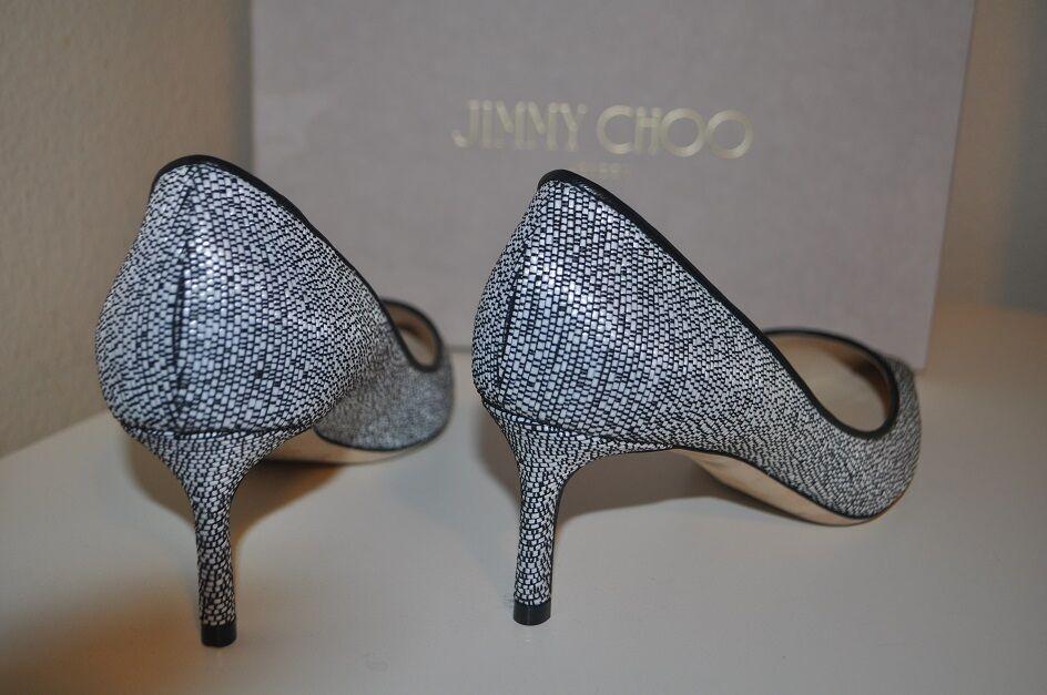 NIB Jimmy Choo ROMY Pointy Toe Pump Pump Pump Heel shoes Chalk Graphic Woven Raffia 38-7.5 80c00a