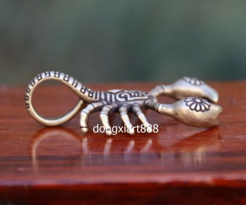 5.5 cm Chinese pure Bronze Handwork Capricorn scorpion Necklace Amulet Pendant