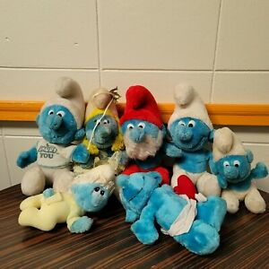 "1980's Smurf VTG Papa Smurfette Baby Cupid 9"" Plush Toy Stuffed Animal Lot of 7"
