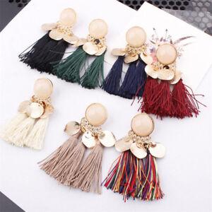 Women-Wafer-Bohemian-Long-Tassel-Earrings-Fringe-Ear-Stud-Drop-Dangle-Jewelry