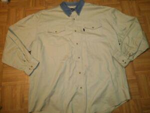 ROPER-sz-2XL-Khaki-LSleeve-Western-SHIRT-Denim-Button-Collar
