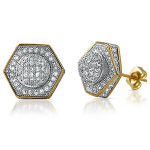 Image Is Loading Gold 13mm Custom Satellite Iced Out Mens Earrings