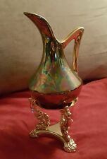 "VINTAGE PEARL CHINA CO. HAND DECORATED 22KT GOLD BUD VASE  USA 6"" plus stand"