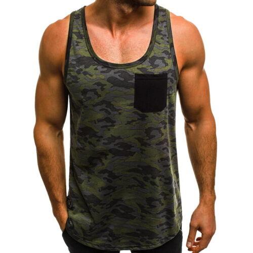 Homme Armée Camouflage Respirable Élastique Musculation Débardeur Gilet