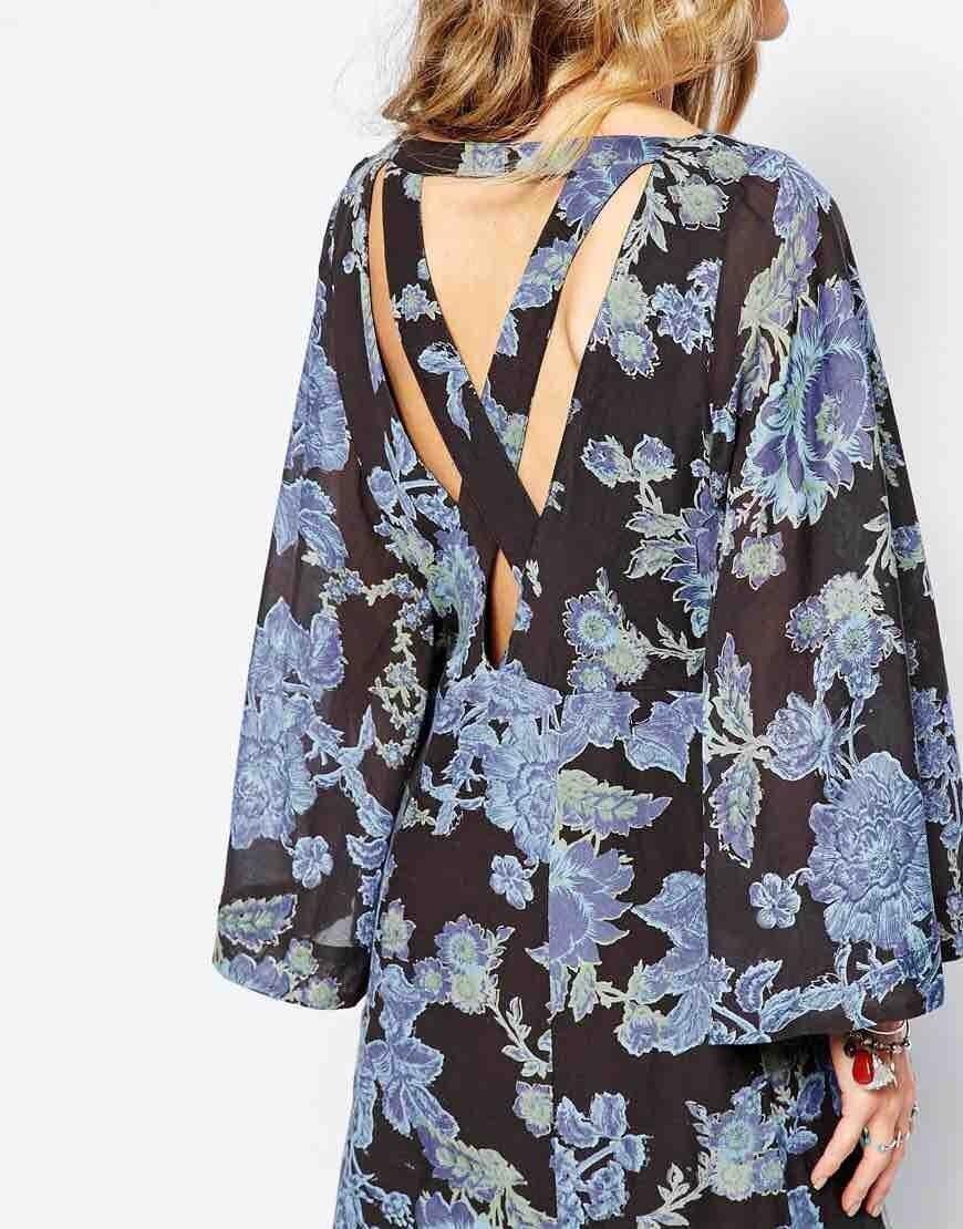 Free People Melrosa Blu Floreale Kimono Manica a Campana Abito lungo Taglia 4