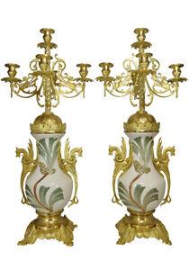 chandeliers. Kaminuhr Empire clock bronze pendule uhren bougeoir porcelaine