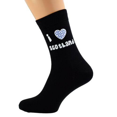 I Love Scotland Blue Tartan Design Mens Black Socks UK Size 5-12 X6N072