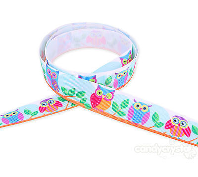 """UK 2 Metres Colourful Owl 20mm 7//8/"""" Grosgrain Ribbon Hair clips cakes Party"""