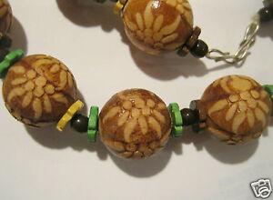 Holzperlen Vintage Kette Holz-perlenkette Edelweiß Trachtenkette Auflösung 45cm Schrumpffrei Uhren & Schmuck
